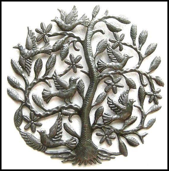 Metal Tree Art Of Life Wall Hanging Decor Outdoor Haitian Recycled Steel Drum