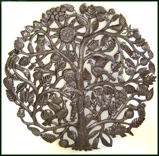 Metal Tree Wall Art Of Life Decor Haitian Hanging Steel Oil Drum 34